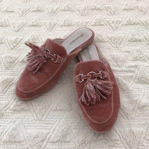 Jeffrey Campbell pink velvet loafers
